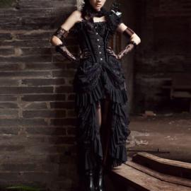 Zwart Victoriaanse Gothic Steampunk Dark Romance van  KuroNeko 4XL  K15781