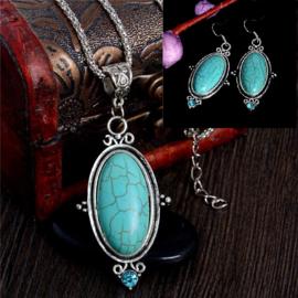 Bohemian stijl ketting & oorbellen turquoise Steen S8828