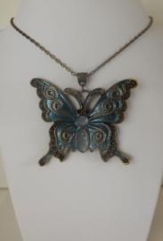 Bronzen Victoriaanse Choker Ketting met Groote Vlinder S8409
