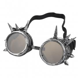 Gothic Lolita Emo Steampunk Goggles Bril Spikes Zilver S3649