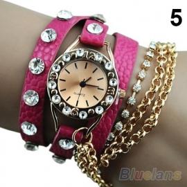 Roze Wikkel Armband Horloge met Stras en Kettingen S3372