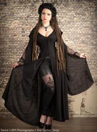 Gothic Lolita Queen of Darkness Latex look legging met corsetvetering en kant zwart Nr K138