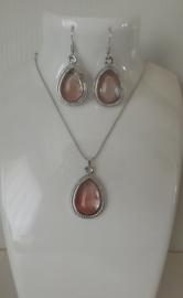 Victoriaanse Setje Ketting & Oorbellen met Roze Glassteen S9002