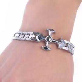 Stainless Steel Schakel Armband met Zilveren Kruis S8750