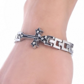Stainless Steel Schakel Armband met Zwart Kruis S8744