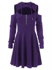 Rode Gothic Punk Sexy Open schouder Hoodies jurk XXL  K1628