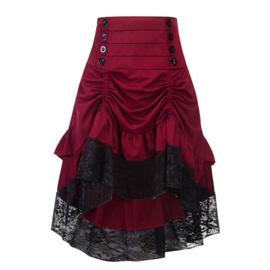 Victoriaanse Gothic Steampunk Hoog Rood/zwarte Taille Rok 2 XL  K1521