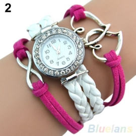 Zilveren Pink / Wit  Leren Armband Horloge met Bedel  S3346