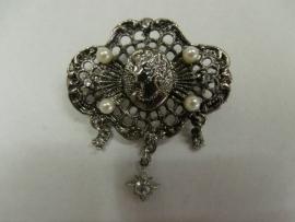 Zilveren Victoriaanse Broches met Camee & Parels Nr S728