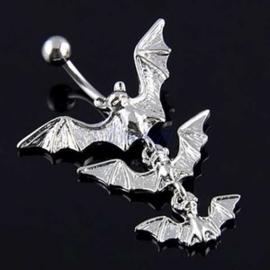 Zilveren Gothic Navelpiercing Hanger Vleermuis  S8626