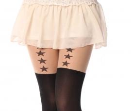 Gothic Lolita jarretel panty zwart met Grote Ster K606