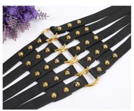 Zwarte / Goud Brede Korset Taille Riem met ronde studs en O-ringen K1529