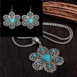 Bohemian stijl ketting & oorbellen turquoise Bloem  S8819