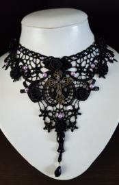 Zwarte Lila kante Gothic Lolita Victoriaanse Ketting choker S91964