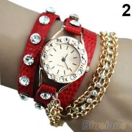 Rood Wikkel Armband Horloge met Stras en Kettingen S3357