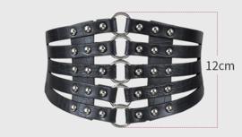 Zwarte Brede Korset Taille Riem met ronde studs en O-ringen K1528