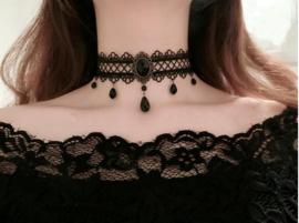 Victoriaanse Zwarte Gothic Lolita Choker Ketting S9991