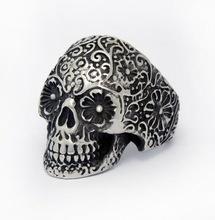 Zilveren Gothic Lolita Ring met grootte Skull S9111