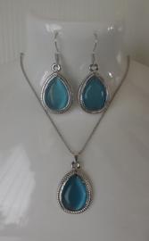 Victoriaanse Setje Ketting & Oorbellen met Blauwe Glassteen S9003