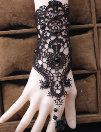 Gothic Lolita Victoriaanse Kante Zwarte Armband S9994