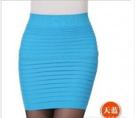 Aqua Blauw Taille Slim Strets Rok Kort S,M,L,XL  K530