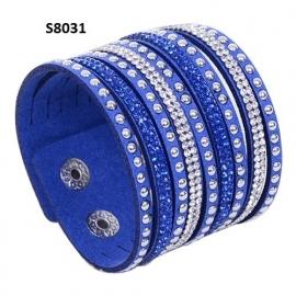 Blauw Suède / Leer Wrap Armband met Rhinestone S8031