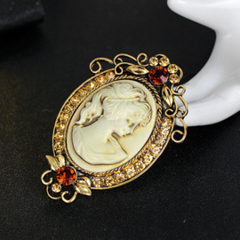 Goud Victoriaanse Barok Broches Camee met Strass S9831