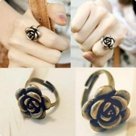 Bronzen Lolita Verstelbare Ring Roosje / Bloem  S8170