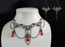 Zilveren/ Rode Vleermuis Gothic Lolita Ketting& OorbellenS92042