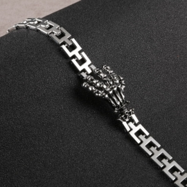 Stainless Steel Schakel Armband met 3 Skull Hand S8748