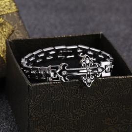 Stainless Steel Schakel Armband met Zwart Kruis S8749