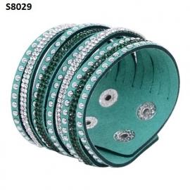 Turquoise Suède Wrap Armband met Rhinestone S8029