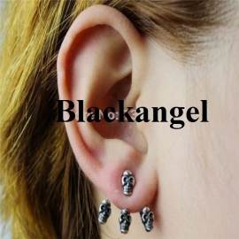 Zilveren Gothic Lolita Steampunk Oorbel Ear Stud Skull  S3591