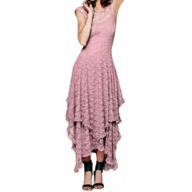 Mooie Gothic Lolita lange Licht Roze Kanten jurk  Mt: S K1700