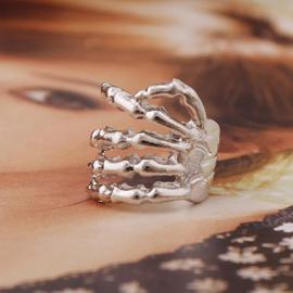 Zilveren Oorbel Oorschelp Ear Stud Skull Hand S9066
