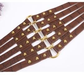 D.Bruin / Goud Brede Korset Taille Riem met ronde studs en O-ringen K1532