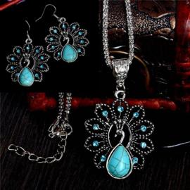 Bohemian stijl ketting & oorbellen turquoise Pauwe S8826