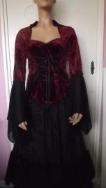 Zwart Rode Gothic Lolita Top Tuniek Merk Laughing Vampire M K81