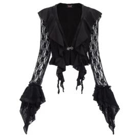 Zwart Gothic Lolita Victoriaanse kante Vestje met lange mouwen XL  K1637