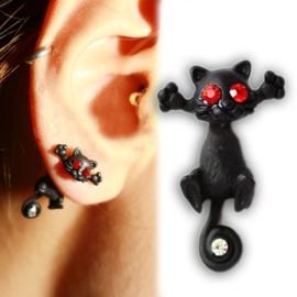 Gothic Lolita Steampunk Oorbel Ear Stud Zwarte / Rode Kat S3612