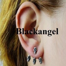 Bronzen Gothic Lolita Steampunk Oorbel Ear Stud Skull  S3592