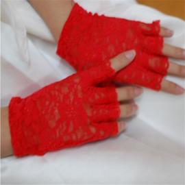 Rood Kante Gothic Lolita Punk Handschoenen K152