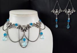Zilver / Blauw Vleermuis Gothic Lolita Ketting & Oorbellen S92046