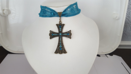 Brons / Blauw  kante Gothic Lolita Victoriaanse Ketting choker S91965