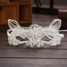 Witte Kant Gothic Lolita Masker Kat / Poes S9076