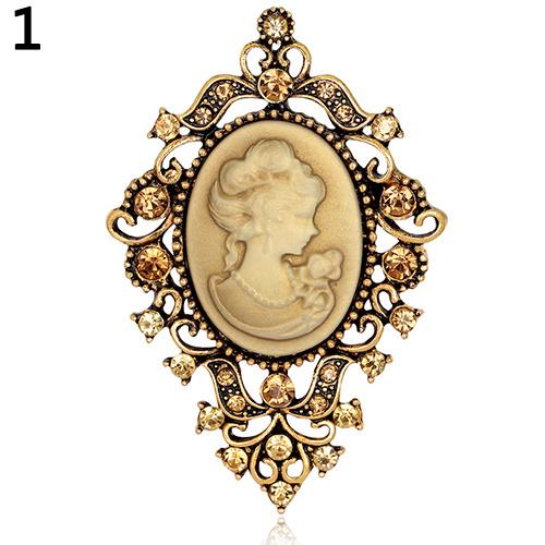 Goud Victoriaanse Barok Broches Camee met Strass S9829