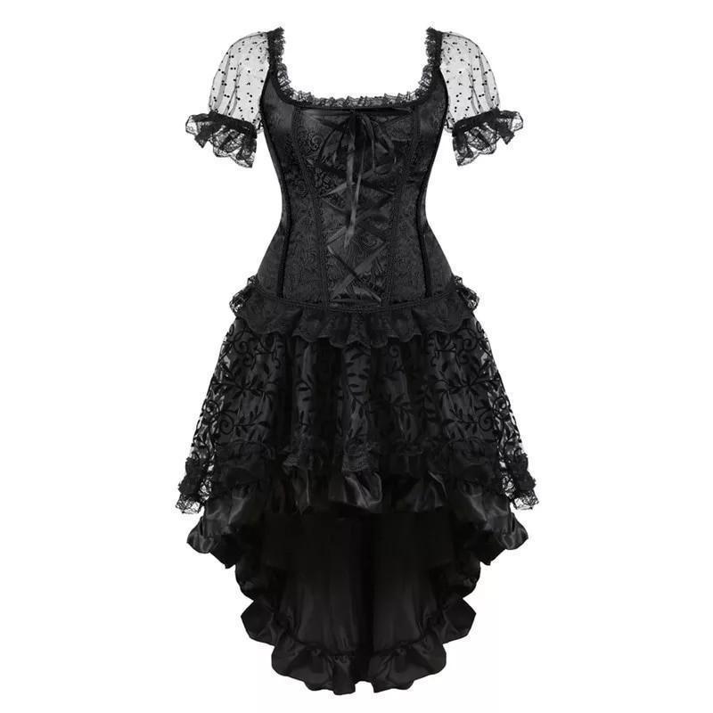 Zwart Victoriaanse Gothic  Steampunk Hoog Laag Satijn / Organza Rok 2XL K1579
