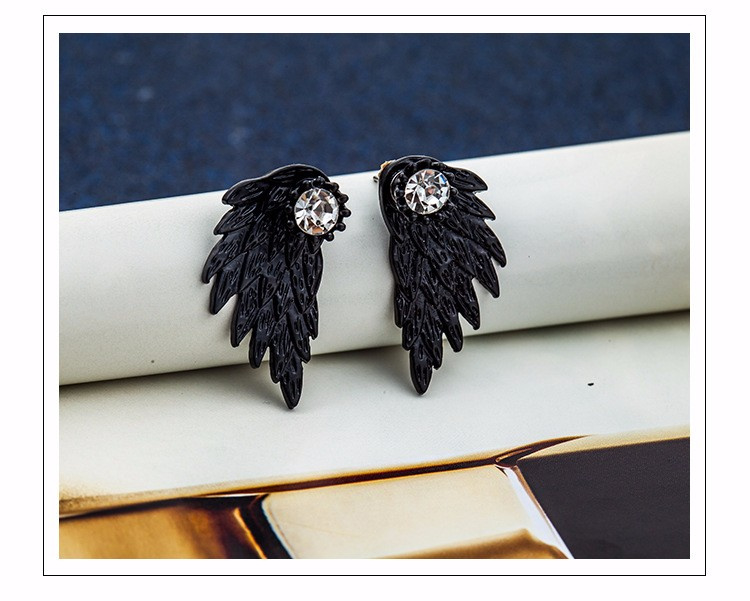Zwarte Gothic lolita steampunk oorbel Ear Stud engel vleugels s9836