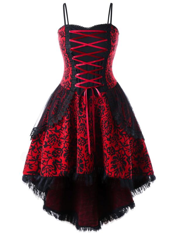 Zwart Rode Plus Size Kanten Gothic Lolita Korset Jurk 4xl K1504