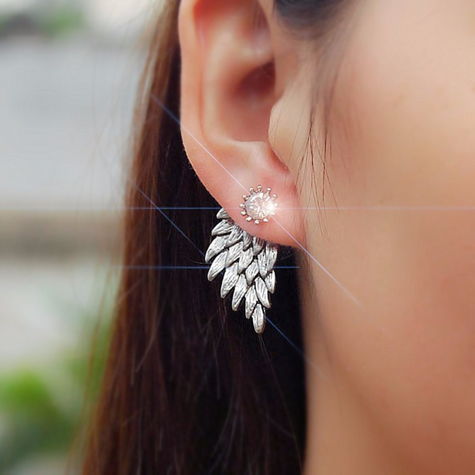 Zilver  Gothic lolita steampunk oorbel Ear Stud engel vleugels s9837
